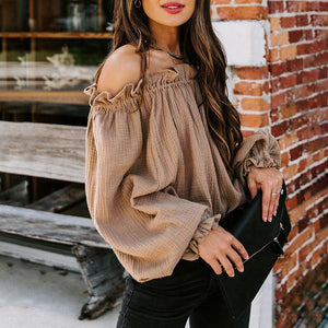 Off Shoulder Flare Sleeves Ruffles Shirts