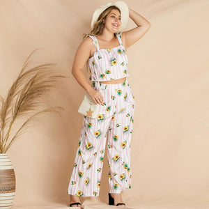 Summer Floral Stripe Top and Pants Set