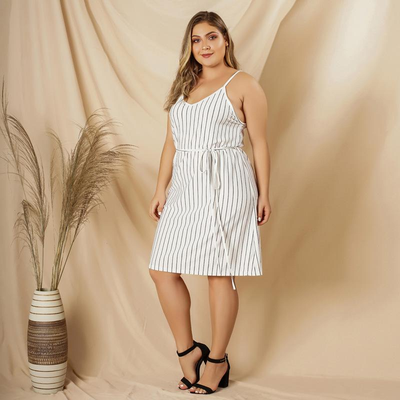 Chic Stripe Strap V-neck Dress