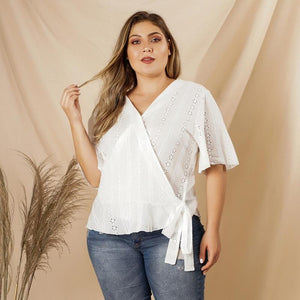 Fashion Hollow Out V-neck Shirt