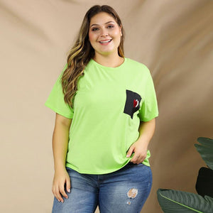 Heart Bright Color Casual Tee
