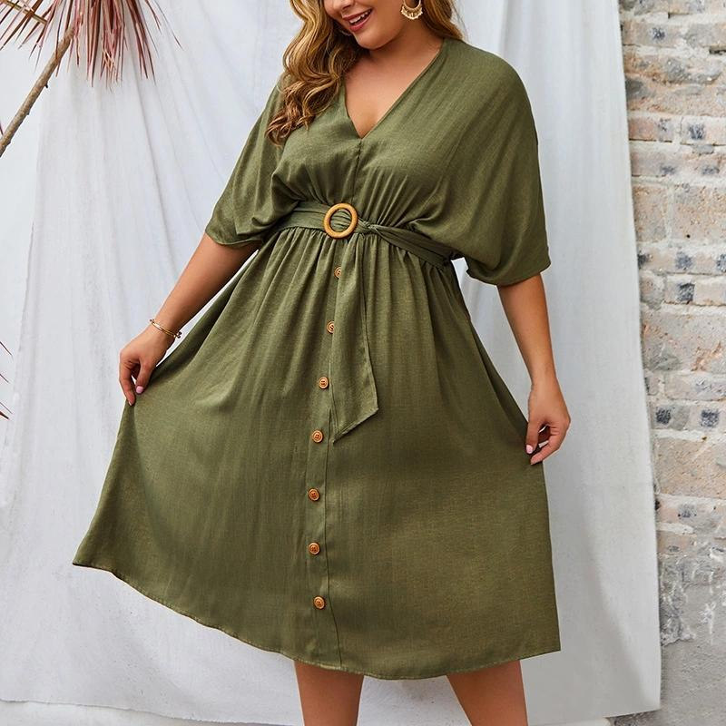 V-neck Mid-sleeve Solid Dress