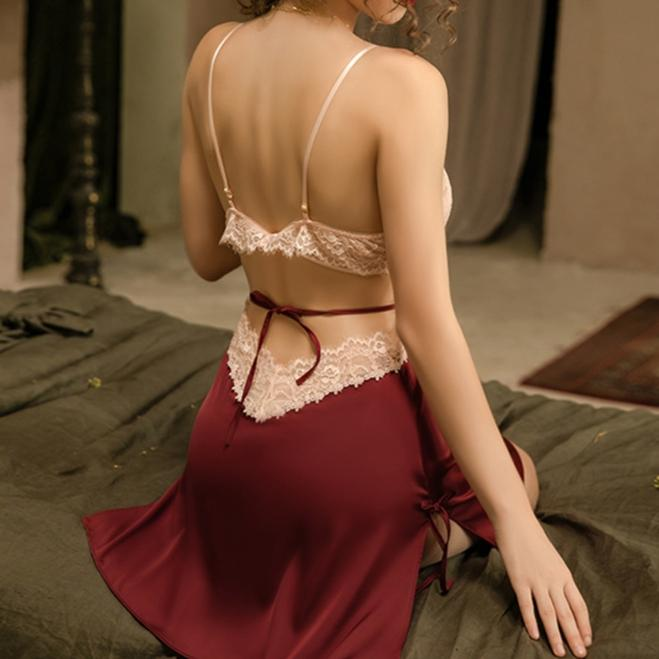 Backless Split Night Wear Lingerie