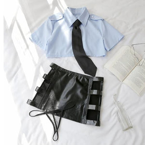 costume 4PCS Hollowed Out Shirt Skirt Tie Set