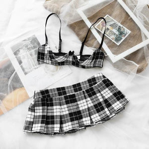 costume 3PCS Plaid Top Skirt Set