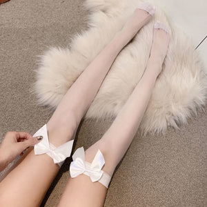 2pcs bowknot decor thin  mid-socks