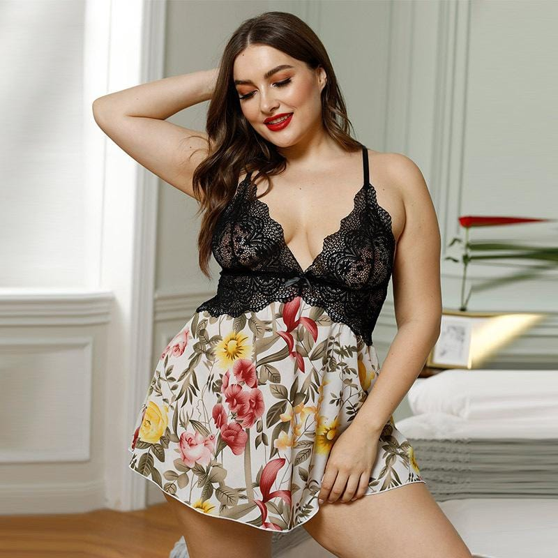 floral lace splice deep-v sleep wear lingerie