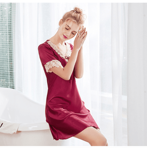 Lace Silk Solid Dress Pajamas Home Wear