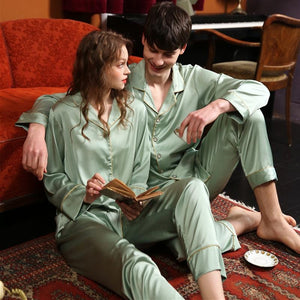 couple silk long-sleeves pajamas