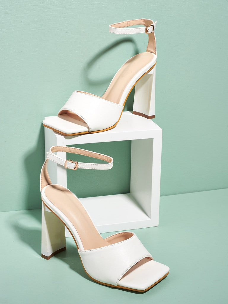 Open-toe Buckle Chunky 10cm High Heels Sandals