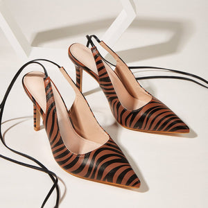 Sexy Leopard Print Lace-up Stiletto Sandals High Heels