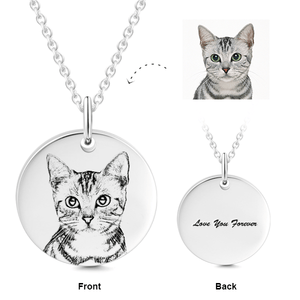 925 Sterling Silver Pet Photo Engraved Necklace Gift for Cat Lovers