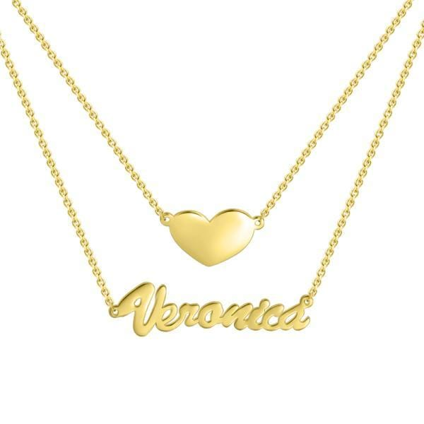 925 Sterling Silver Two Layers Heart Name Necklace Nameplate Necklace