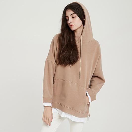 Faux-two Oversize Solid Casual Hoodies