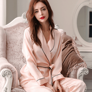 Two-pieces Silk Pajamas Set