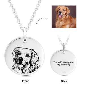 925 Sterling Silver Dog Photo Engraved Coin Necklace Inspirational Gift