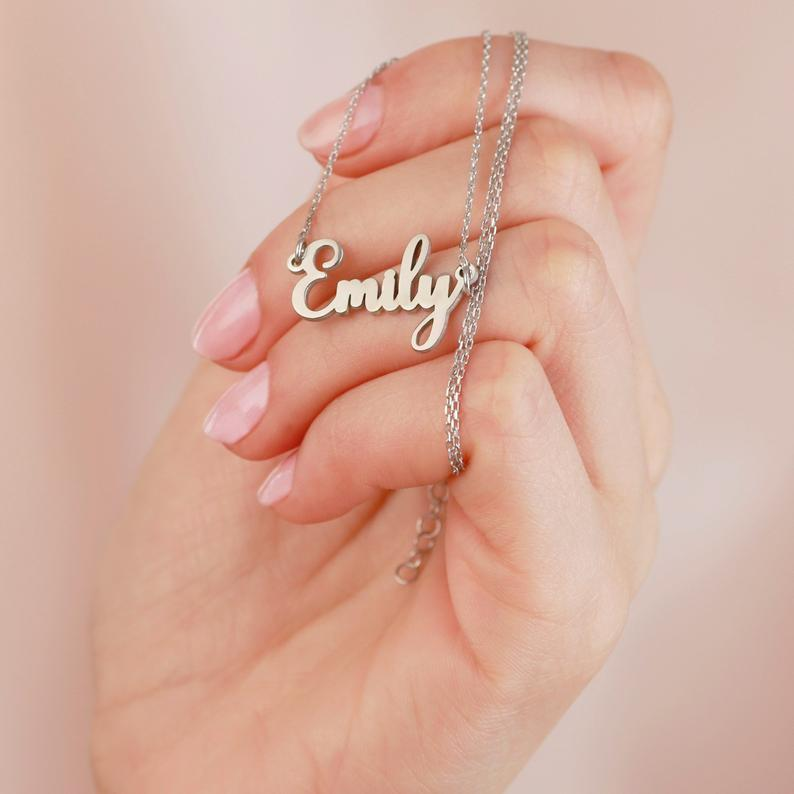 925 Sterling Silver Tiny Gold Personalized Emma Name Necklace Nameplate Necklace