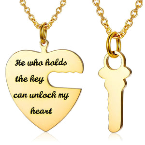 925 Sterling Silver The Key To My Heart Engraved Name Necklace He Who Hold The Key Can Unlock My Heart