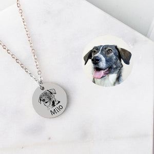925 Sterling Silver Pet Portrait Engraved Necklace Personalized Necklace Gift For Pet Lovers