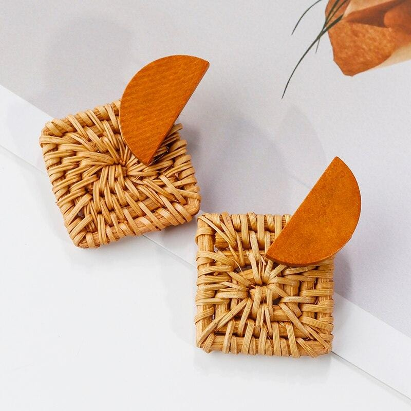 New Fashion Handmade Square Wooden Drop Earrings