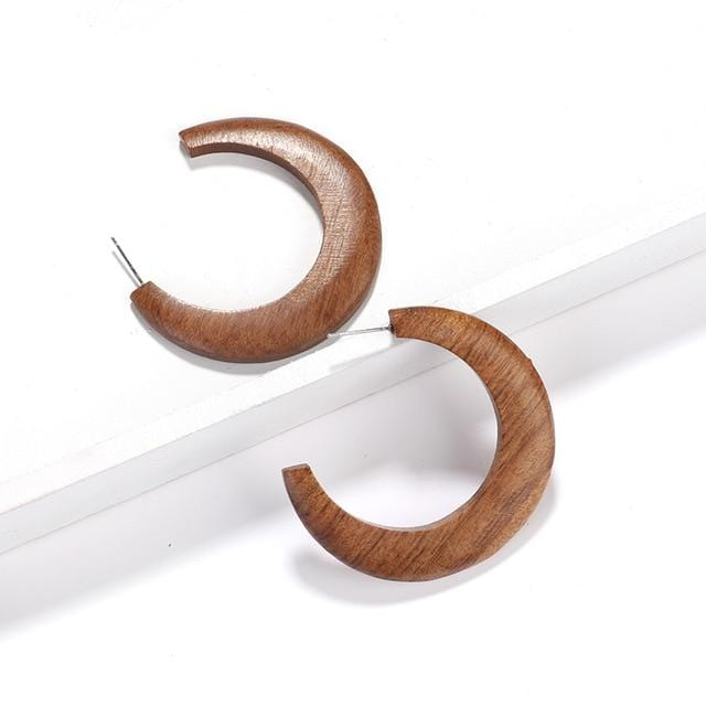 Moon Shape Wood Earrings