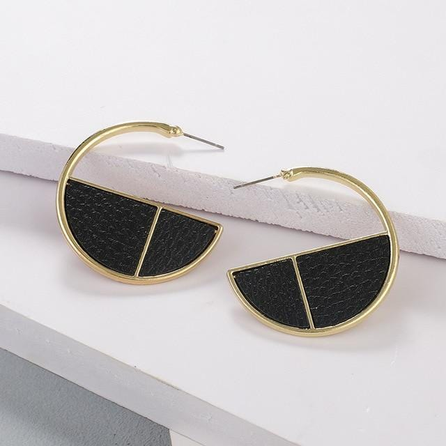 Vinatge Round Leather C Shape Earrings