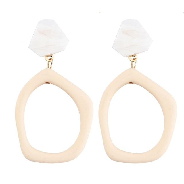 Irregular Geometric Acrylic Long Big Drop Earrings