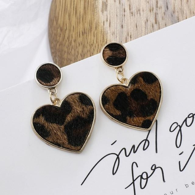 1Pair Geometric Leopard Print Long Drop Earrings