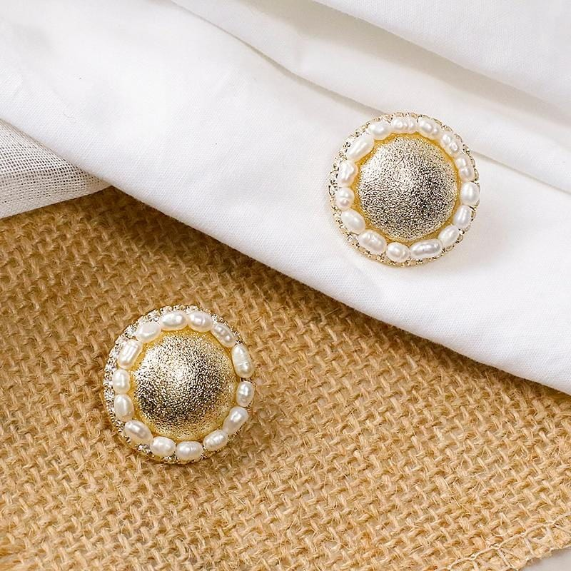 Fashion Big Round Stud Earring Baroque Simulated Pearl Earrings