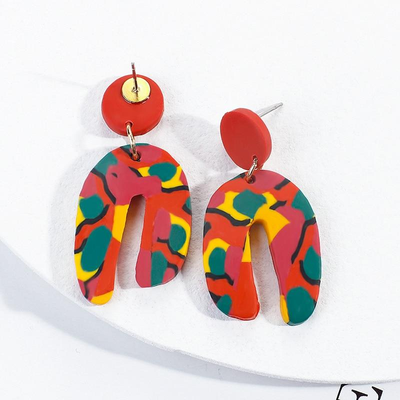 Colorful Handmade Polymer Clay Statement Earrings