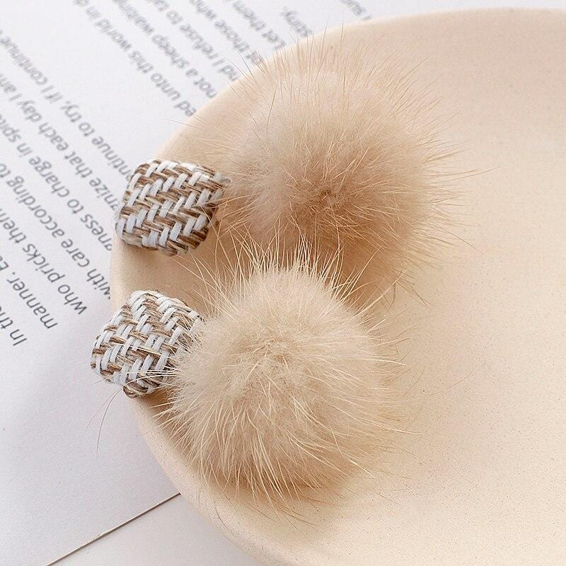 Winter Brown Pom Pom Cotton Ball Drop Earrings