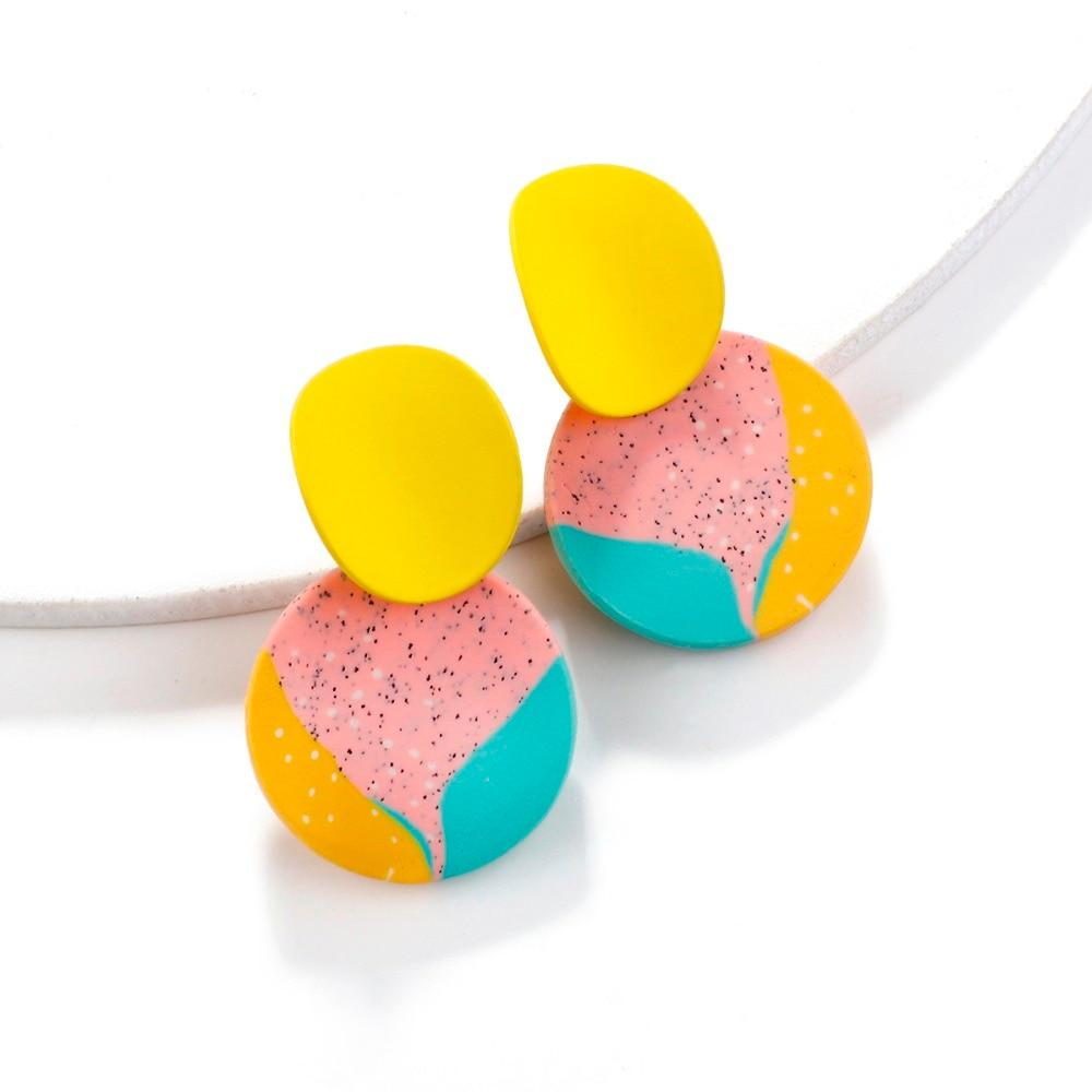 New Unique Colorful Round Pendant Drop Earrings