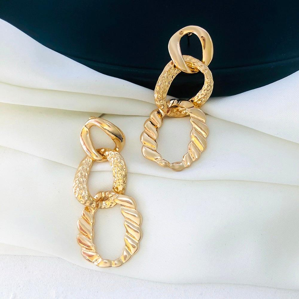 New Design Vintage Gold Color Hollow Long Earrings
