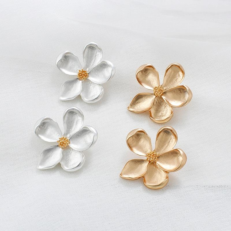 Luxury Gold Silver Color Flowers Small Stud Earrings