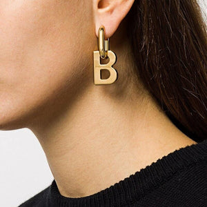 French Punk Gold Silver Color Letter B Pendant Earrings