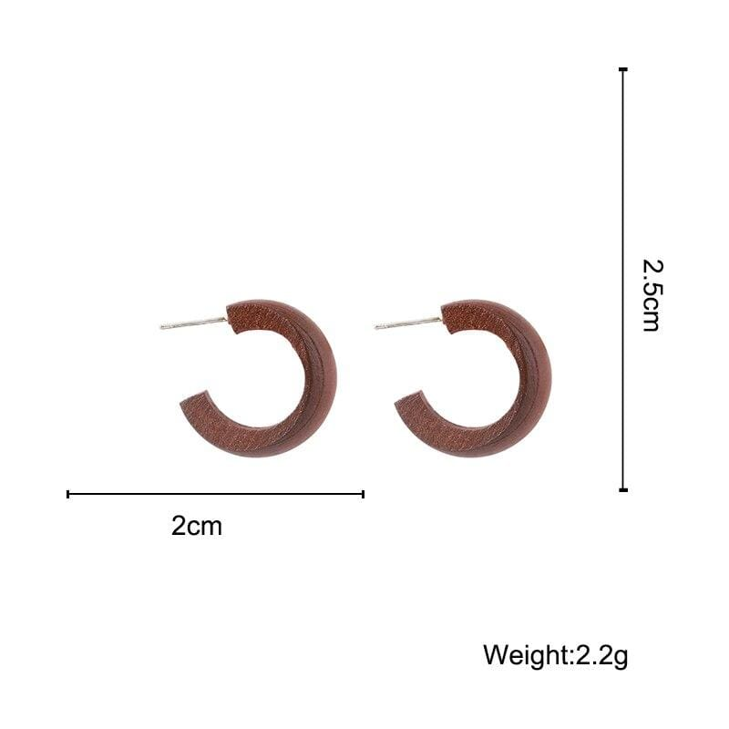 Fashion Wooden C Shape Round Earrings