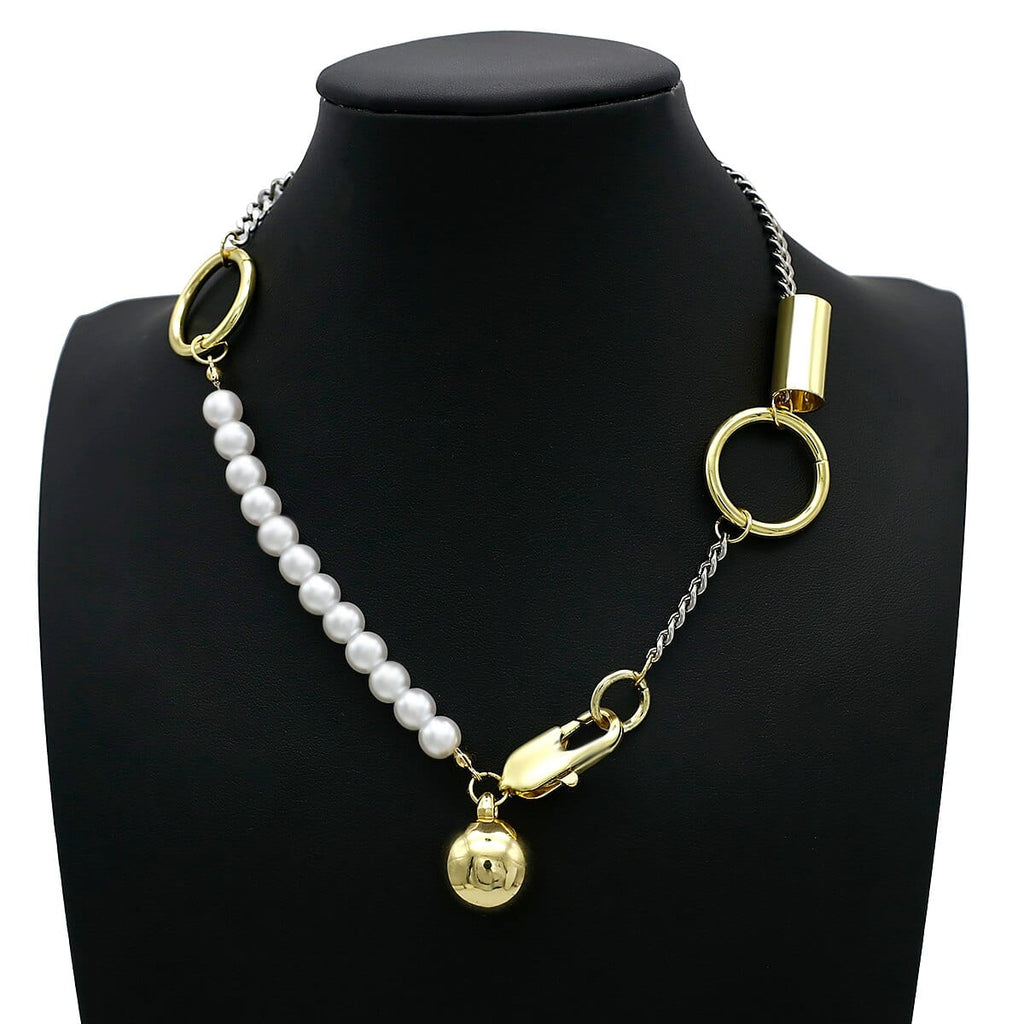 Punk Multi Layered Pearl Charm Chain Choker Necklace
