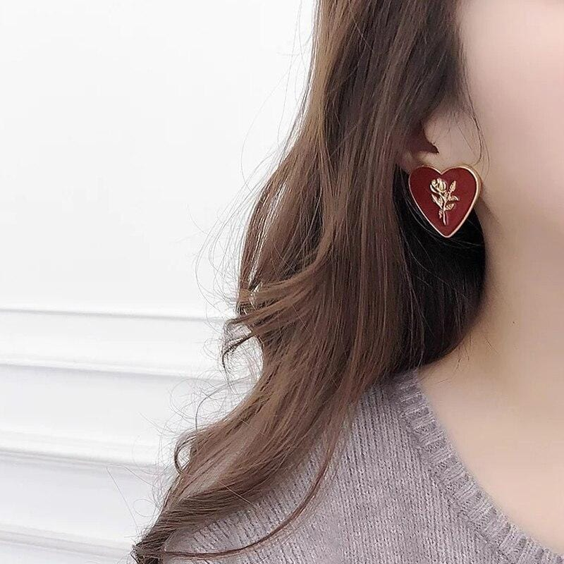 Vintage Red Hearts Gold Rose Enamel Heart Stud Earrings