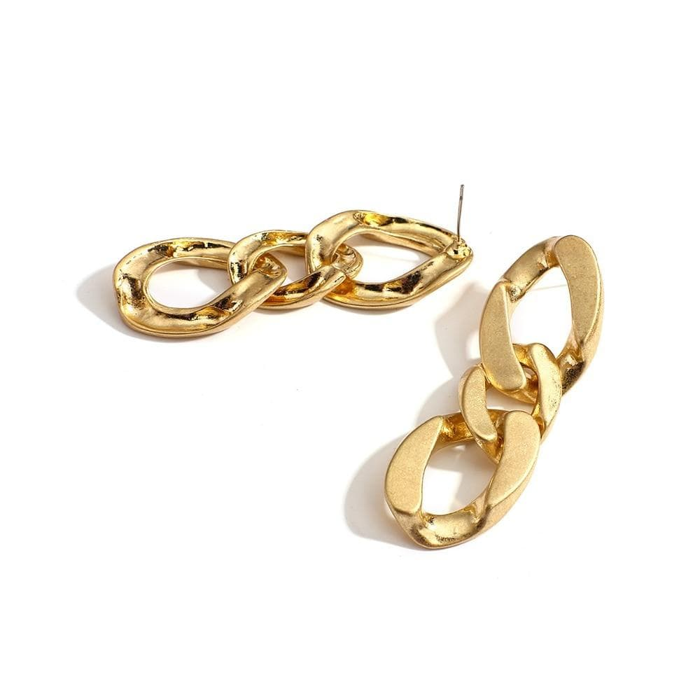 Vintage 3 Circle Link Chain Gold Color Drop Earrings
