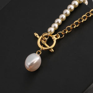 New Imitation Pearls Gold Color Metal Link Chain Bracelets