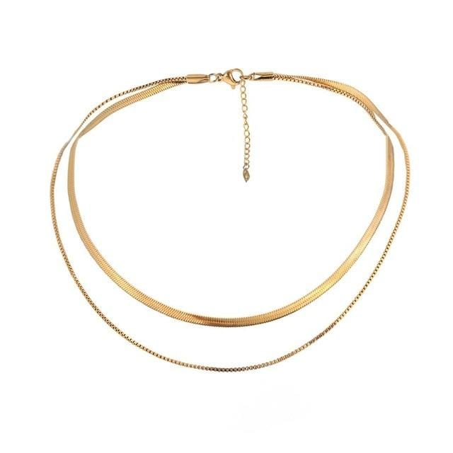 Gold Snake -Bone Chain Choker Necklace