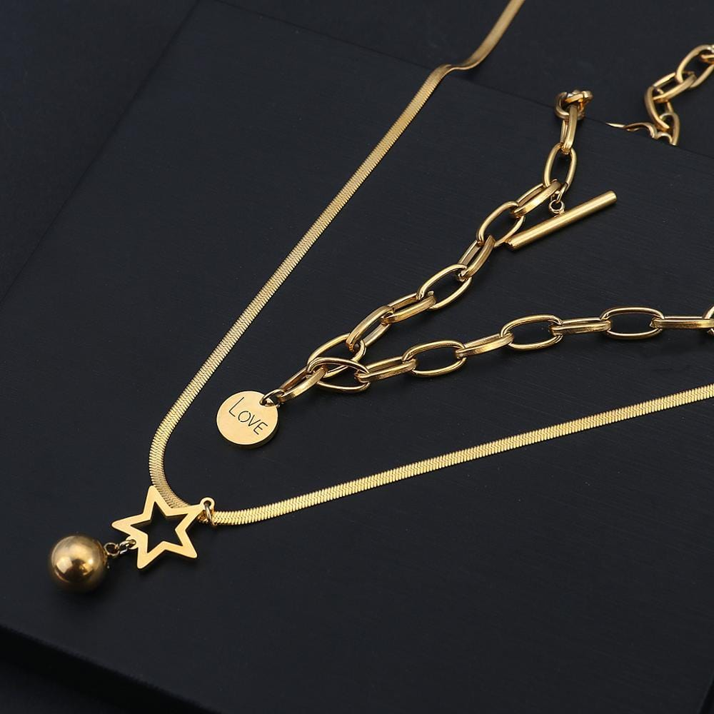 Fashion Star Ball Round Pendant Necklaces