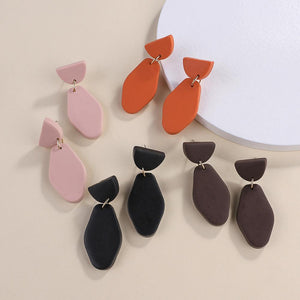 1Pair Fashion Geometric Polymer Clay Drop Earrings