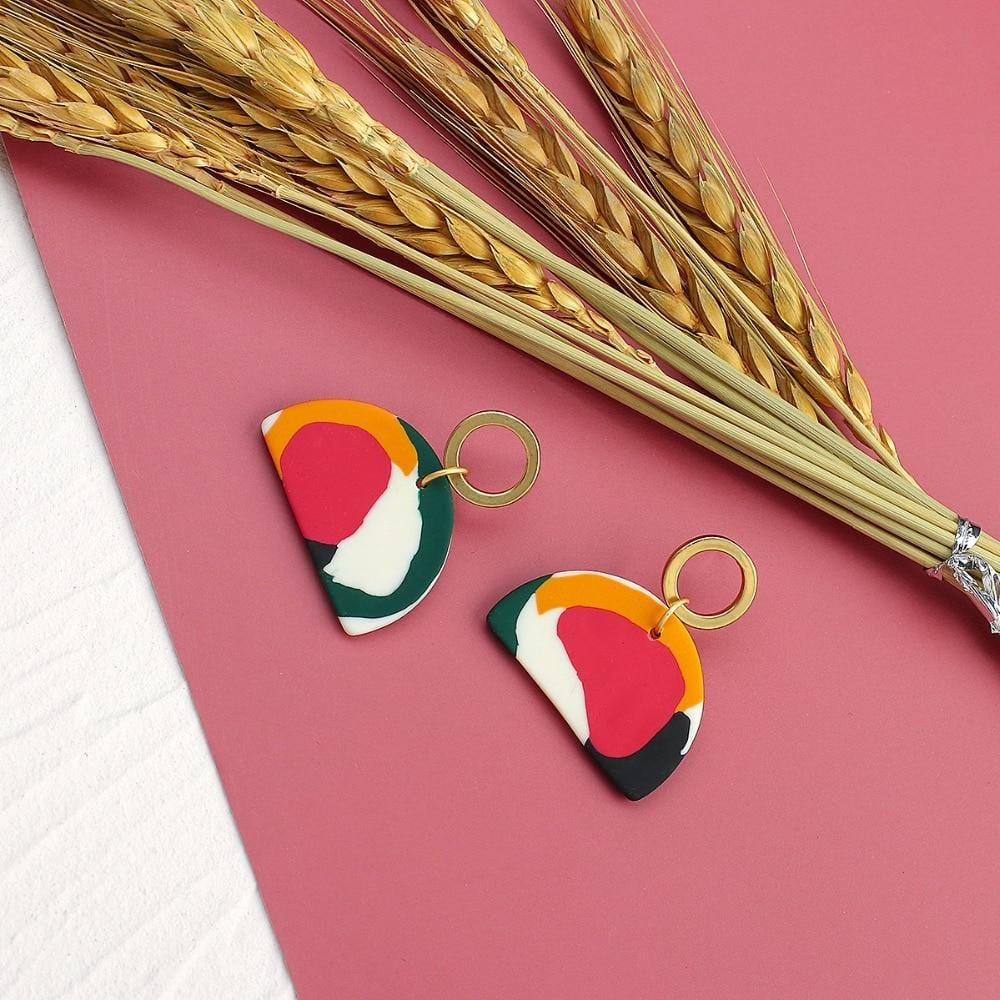 Multicolor Geometric Polymer Clay Drop Earrings
