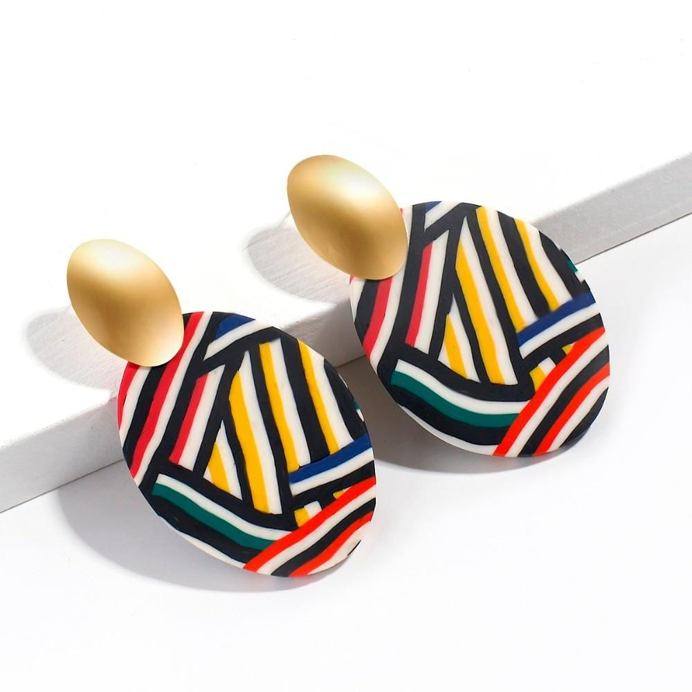 New Geometric Oval Acrylic Earrings