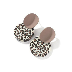 1Pair Korean Leopard Round Polymer Clay Dangle Earrings