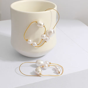 Irregular Geometric Pearl Beads Ear Bone Clip Earring