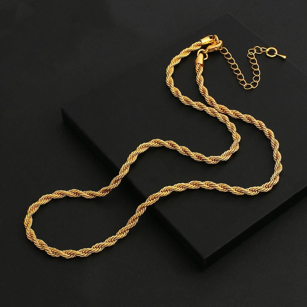 Gold Color Metal Swag Twisted Rope Chain Necklaces