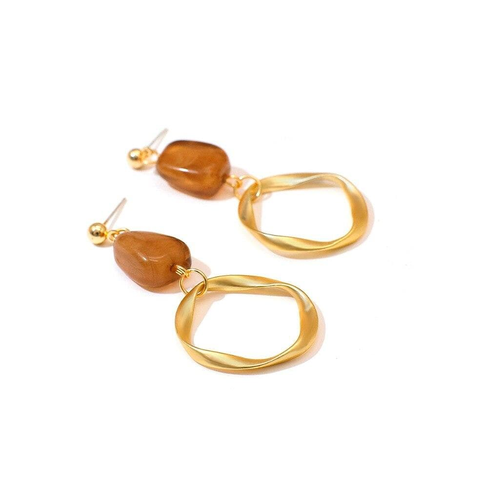 Fashion Gold Color Long Round Pendant Drop Earrings