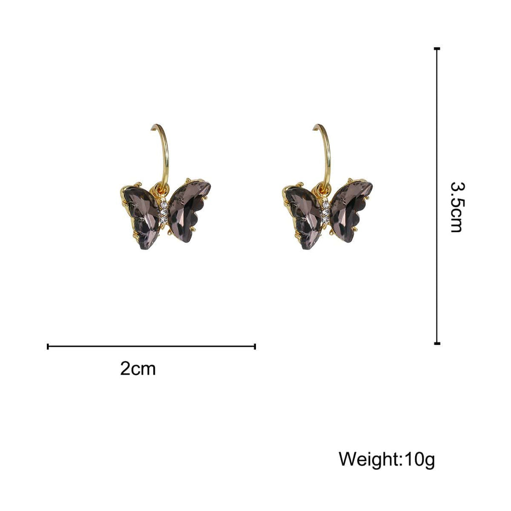 Shiny Zirconia Butterfly Drop Earrings